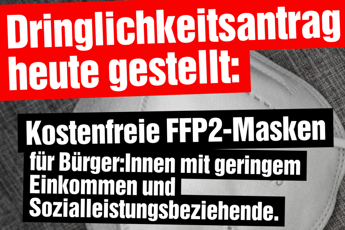 Kostenfreie FFP2-Masken für Menschen mit geringem Einkommen und Sozialleistungsbeziehende.
